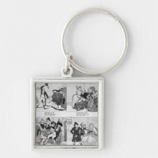 A Lesson for Spendthrifts by Dr. Johnson, 1794 Silver-Colored Square Key Ring