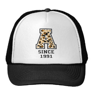 A letter image with camouflage patterns mesh hats