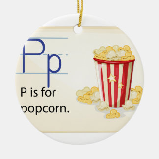 A letter P for popcorn Round Ceramic Decoration