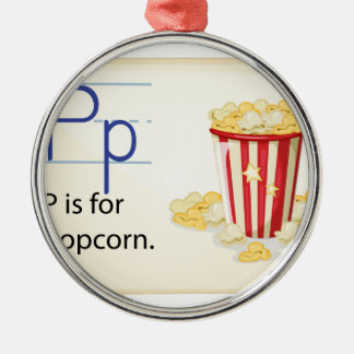A letter P for popcorn Silver-Colored Round Decoration
