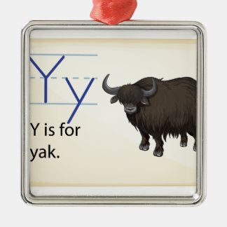 A letter Y for yak Silver-Colored Square Decoration