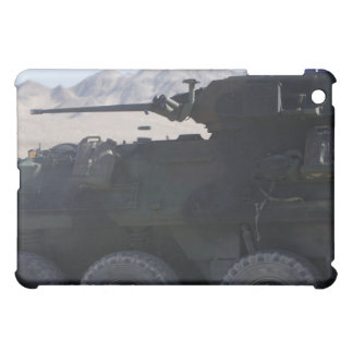 A light armored vehicle fires cover for the iPad mini