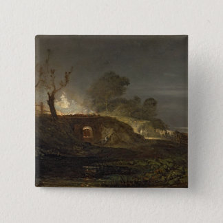 A Lime Kiln at Coalbrookdale, c.1797 (oil on panel 15 Cm Square Badge