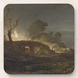 A Lime Kiln at Coalbrookdale, c.1797 (oil on panel Coaster