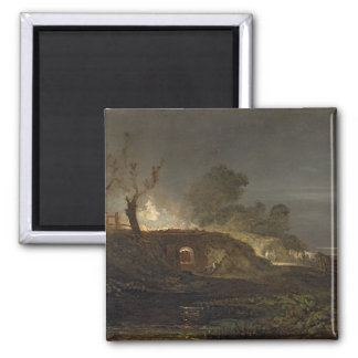 A Lime Kiln at Coalbrookdale, c.1797 (oil on panel Magnet