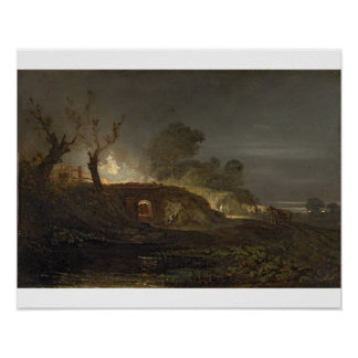 A Lime Kiln at Coalbrookdale c 1797 oil on panel Posters