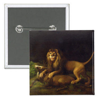A Lion Attacking a Stag, c.1765 (oil on canvas) 15 Cm Square Badge