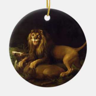 A Lion Attacking a Stag, c.1765 (oil on canvas) Christmas Ornament