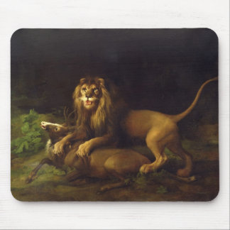 A Lion Attacking a Stag, c.1765 (oil on canvas) Mouse Mat