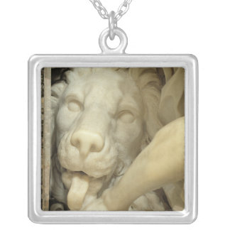 A Lion licking the foot of Daniel Silver Plated Necklace