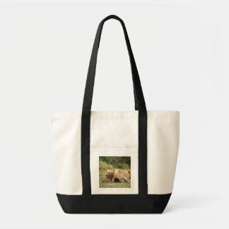 A lioness and her playful cub canvas bag
