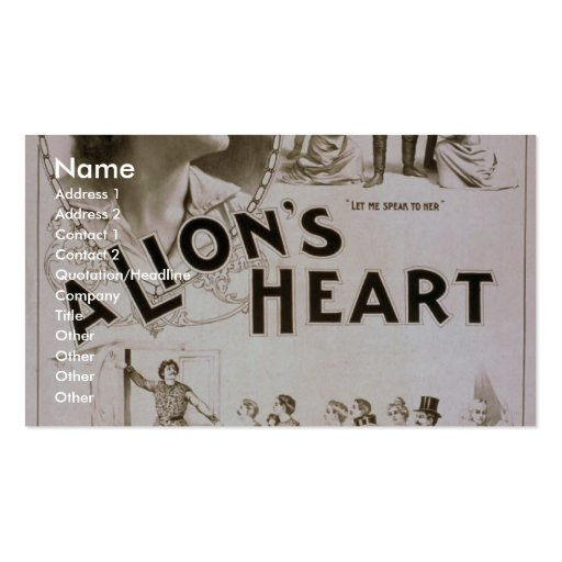 A Lion's Heart, 'What do you all want Here?' Business Card Template