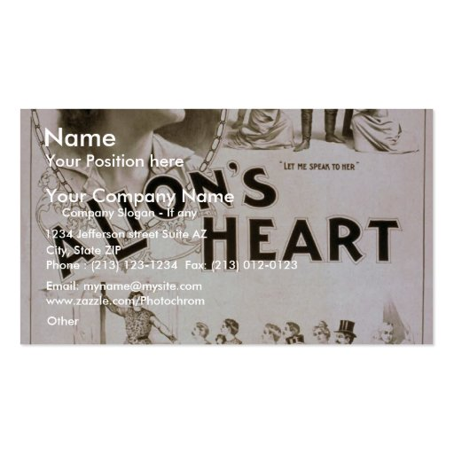 A Lion's Heart, 'What do you all want Here?' Business Card