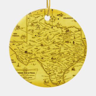A Literary map of Texas by Dallas Pub Lib (1955).j Christmas Ornament