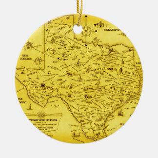 A Literary map of Texas by Dallas Pub Lib (1955).j Round Ceramic Decoration