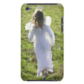 A little angel skips away from the viewer in a iPod touch covers