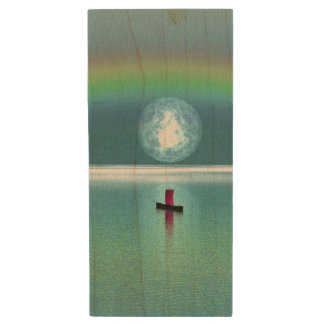 A little boat in the ocean with moon and rainbow wood USB 2.0 flash drive