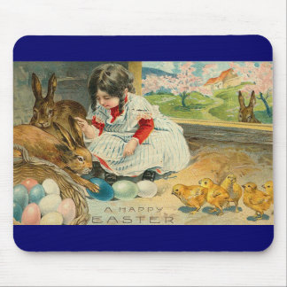A Little Girl and Her Bunnies Easter Mousepad