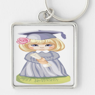 A Little Girl in a Graduation Cap Keychain