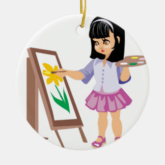 A Little Girl with a Paint Palette Christmas Ornament