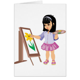 A Little Girl with a Paint Palette Greeting Card