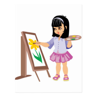 A Little Girl with a Paint Palette Postcard