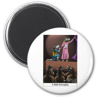 A Little Horse Play Funny Horse Cartoon Gifts 6 Cm Round Magnet