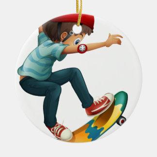 A little man skateboarding christmas ornament