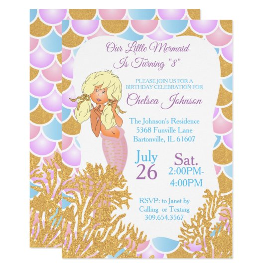 A Little Mermaid 00th Birthday Invitation
