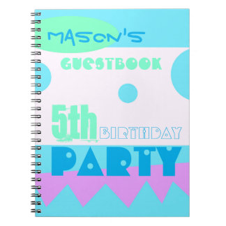 A Little Monster 5th Birthday Party Guestbook Spiral Notebook