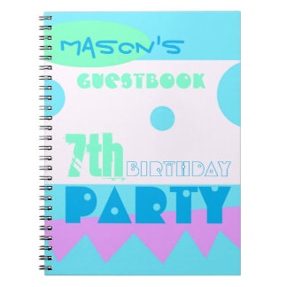 A Little Monster 7th Birthday Party Guestbook Notebook