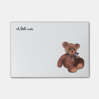 a little note (cute brown teddy bear toy) post-it® notes