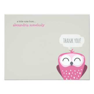A Little Note Thank You Happy Pink Owl 11 Cm X 14 Cm Invitation Card