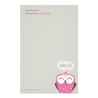 A Little Note Thank You Pink Owl Stationery