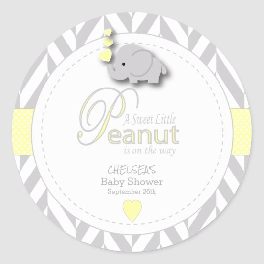 A Little Peanut Elephant Baby Shower Classic Round