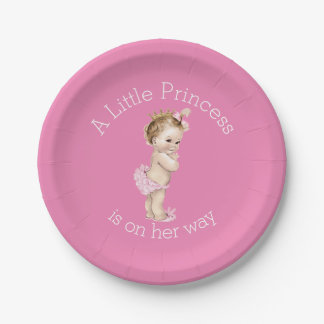A Little Princess Baby Shower Pink Paper Plate