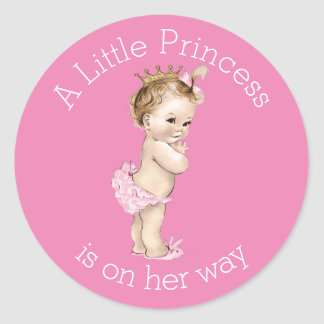 A Little Princess Baby Shower Pink Round Sticker