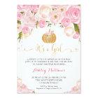 A little Pumpkin Baby Shower Pink & Gold Glitter Card