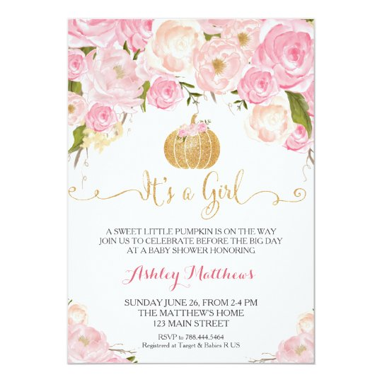 A Little Pumpkin Baby Shower Pink U0026 Gold Glitter Invitation