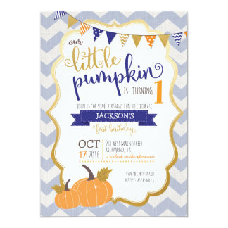 A Little Pumpkin First Birthday Invitation