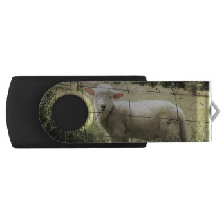 a little white lamb behind a fence in a field swivel USB 2.0 flash drive
