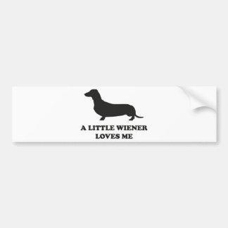 A Little Wiener Loves Me Bumper Sticker