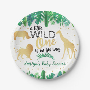 A Little Wild One Is On His Way Boys Baby Shower Paper Plate