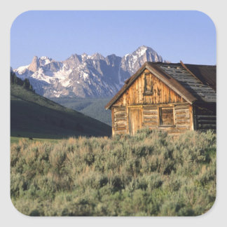 A log cabin and the Sawtooth Mountains in Stickers