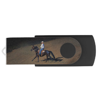 A Lone Cowboy and His Horse Art on USB Devices USB Flash Drive