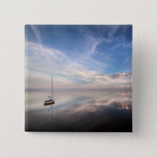 A Lone Sailboat On The Calm Waters Of Salton 15 Cm Square Badge