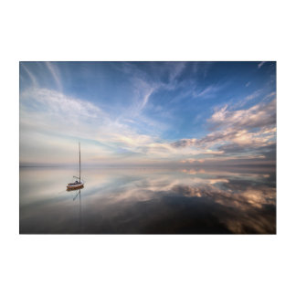 A Lone Sailboat On The Calm Waters Of Salton Acrylic Wall Art