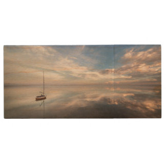 A Lone Sailboat On The Calm Waters Of Salton Wood USB Flash Drive