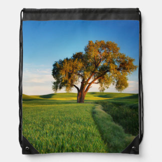 A lone tree surrounded by rolling hills of wheat drawstring bag