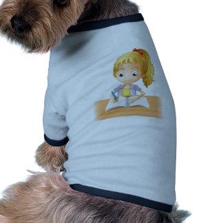 A long-haired girl writing ringer dog shirt